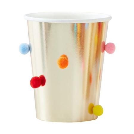 Ginger Ray® Bicchieri di carta Rainbow Pom Pom Gold 8 kosov