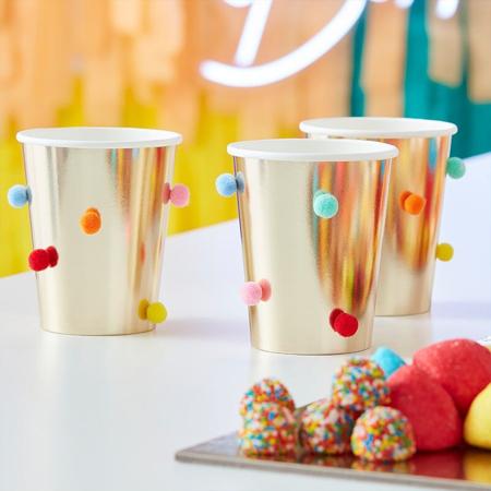 Immagine di Ginger Ray® Bicchieri di carta Rainbow Pom Pom Gold 8 kosov
