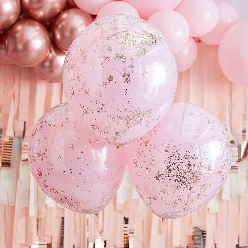 Immagine di Ginger Ray® Palloncini con coriandoli Double Stuffed Pink Rose Gold