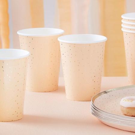 Immagine di Ginger Ray® Bicchieri di carta Gold Polka Dot 8 pezzi