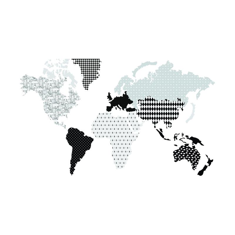 Immagine di Dekornik® Adesivo parete Mappa del Modno Black&White - M