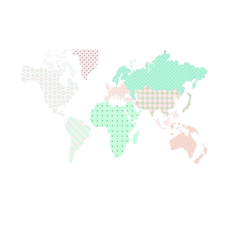 Immagine di Dekornik® Adesivo parete Mappa del Modno Pastello - M