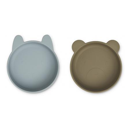 Immagine di Liewood® Set di ciotole in silicone Vanessa Blue Fog/Khaki Mix