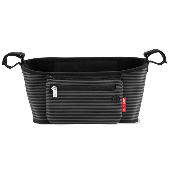 Immagine di Skip Hop® Cestino porta oggetti per passeggino Black & Grey Stripe