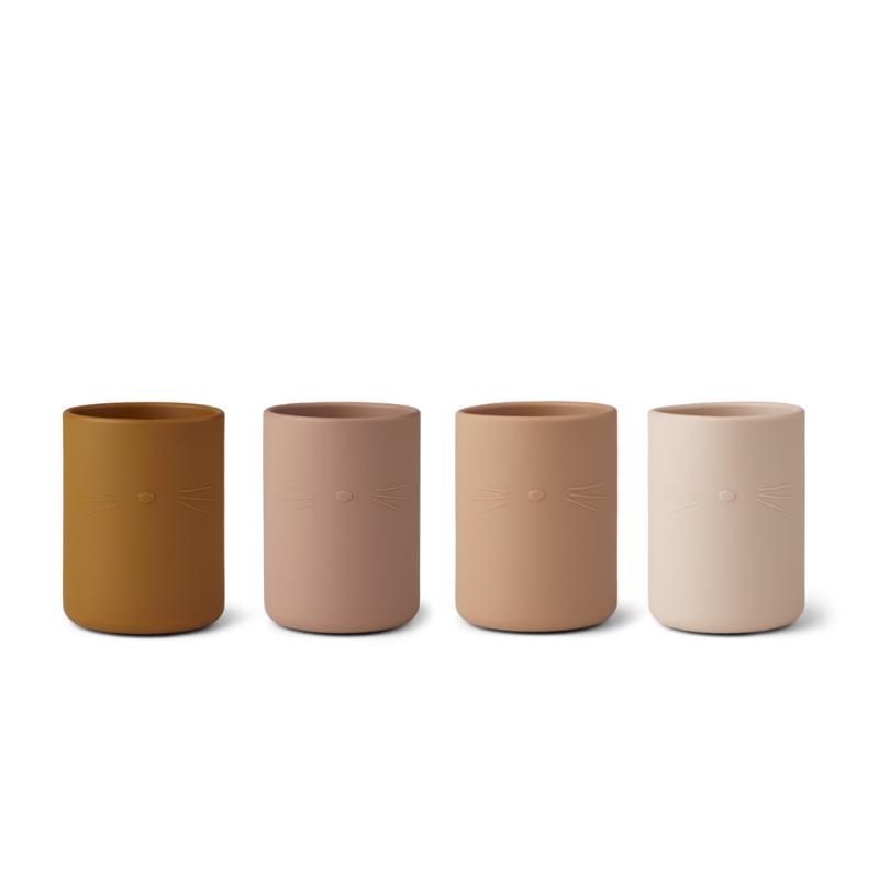 Immagine di Liewood® Set 4 bicchieri in silicone Ethan Cat Rose Multi Mix