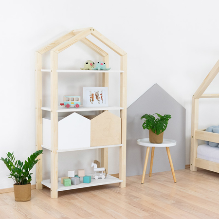 Immagine di Benlemi® Libreria in legno Tally Natural/White