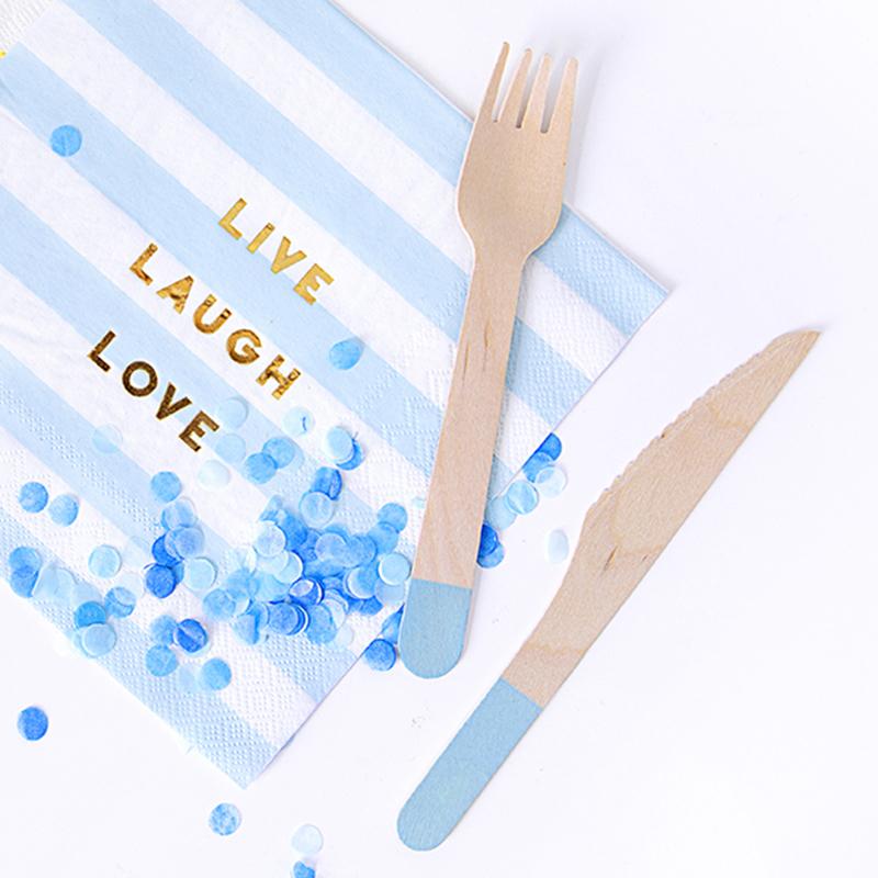 Immagine di Party Deco Posate in legno Light Blue 18 pezzi