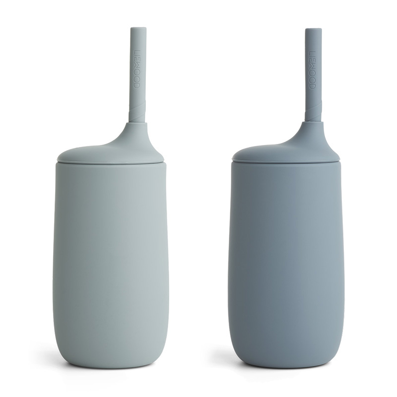 Immagine di Liewood® Bicchiere in silicone con cannuccia Dylan 2 kosa Blue Mix 300ml