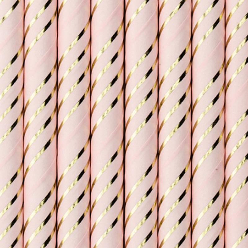 Immagine di Party Deco®  Cannucce in carta Light Pink Golden 10 pz