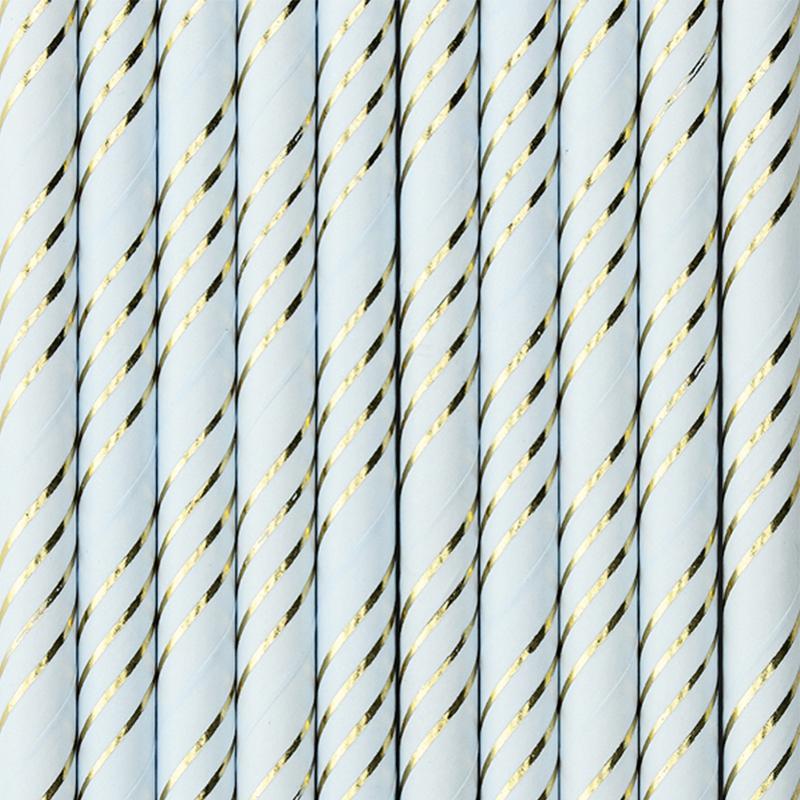 Immagine di Party Deco®  Cannucce in carta Light Blue 10 pz