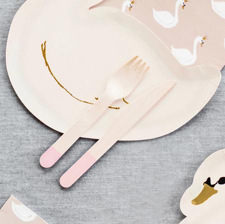 Immagine di Party Deco Posate in legno Light Pink 18 pezzi