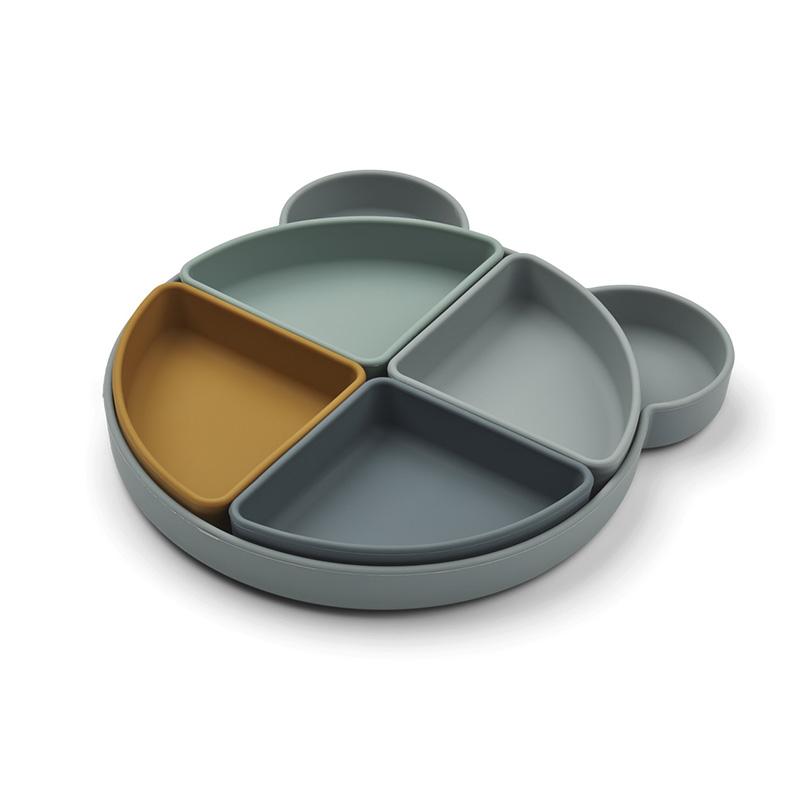 Immagine di Liewood® Piatto in silicone a  4 scomparti Arne Mr Bear Blue Fog Multi Mix
