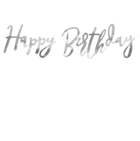 Immagine di Party Deco® Scritta Happy Birthday Silver