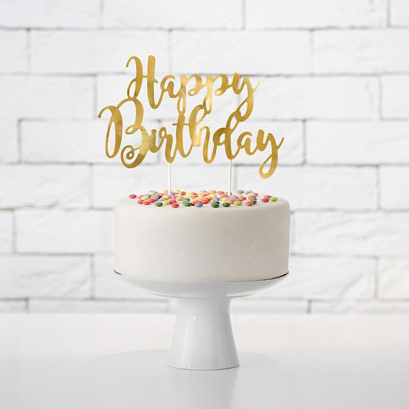 Immagine di Party Deco® Scritta per la torta Happy Birthday Gold