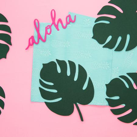 Immagine di Party Deco® Decorazioni per il tavolo Aloha Monstera 6 pezzi