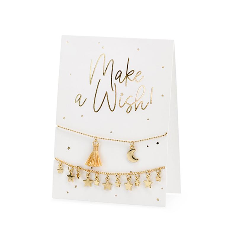 Immagine di Party Deco® Biglietto d'auguri con braccialetti Make a Wish