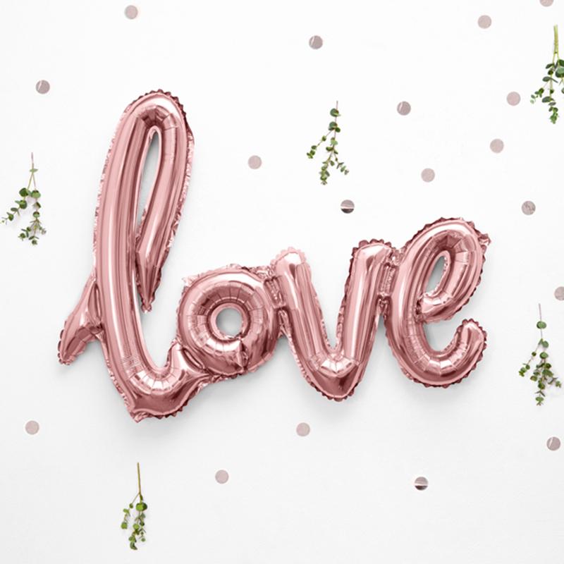 Immagine di Party Deco® Palloncini con scritta Love Rose Gold