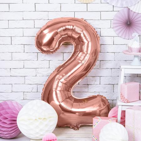 Immagine di Party Deco® Palloncino numero 2 Rose Gold