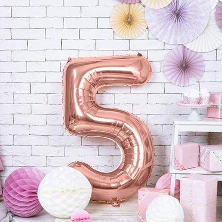 Immagine di Party Deco® Palloncino numero 5 Rose Gold