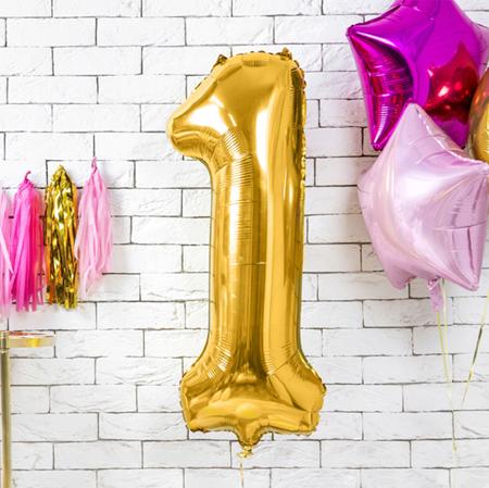 Immagine di Party Deco® Palloncino numero 1 Gold