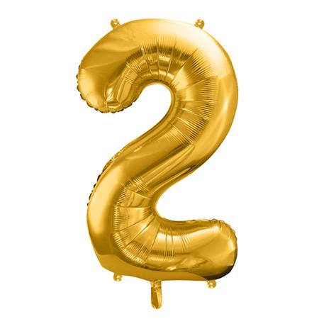 Party Deco® Palloncino numero 2 Gold