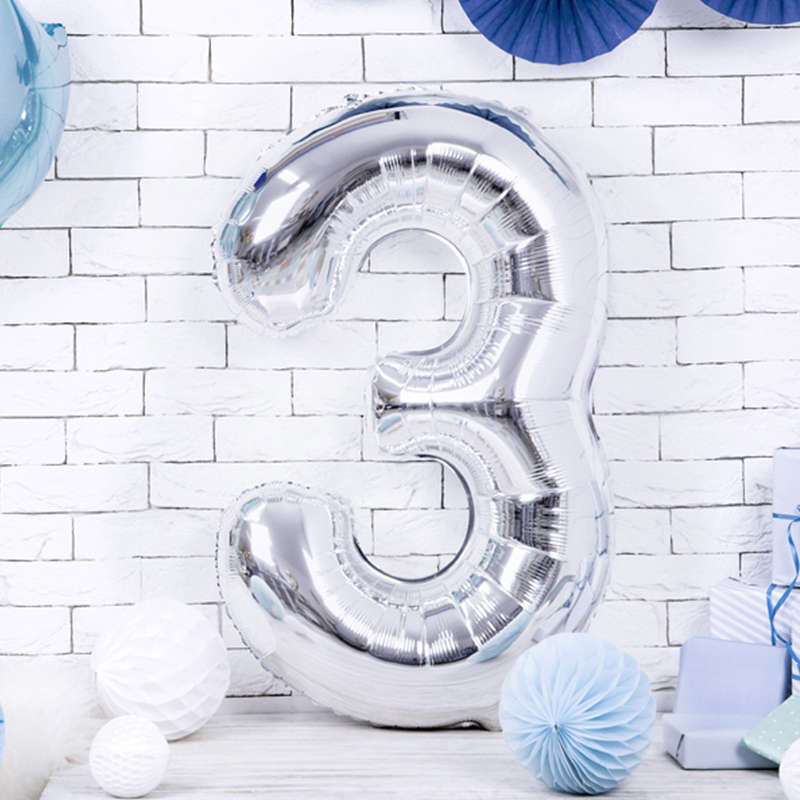 Immagine di Party Deco® Palloncino numero 3 Silver