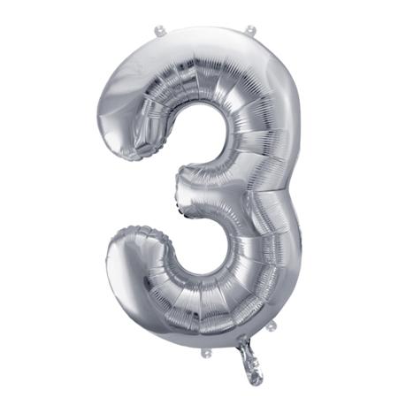 Party Deco® Palloncino numero 3 Silver