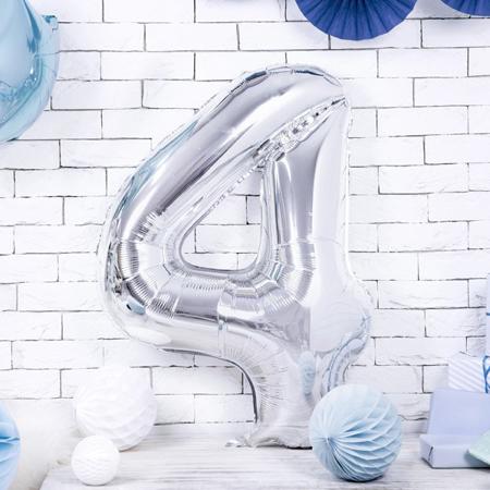 Immagine di Party Deco® Palloncino numero 4 Silver