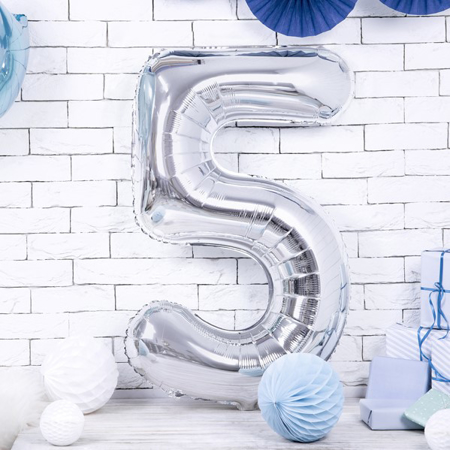 Immagine di Party Deco® Palloncino numero 5 Silver