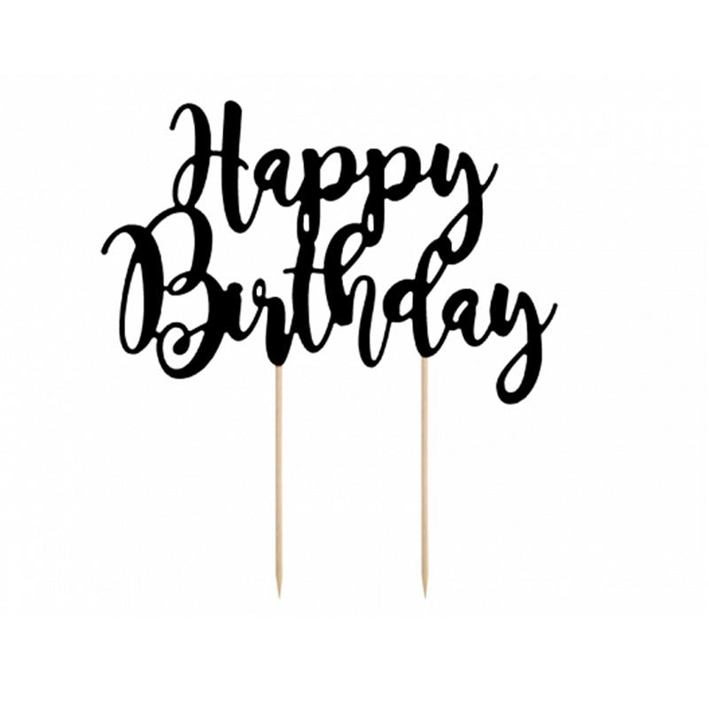 Immagine di Party Deco® Scritta per la torta Happy Birthday Black 22.5 cm
