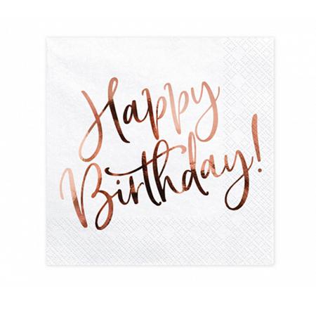 Immagine di Party Deco® Tovaglioli Happy Birthday White 20 pz