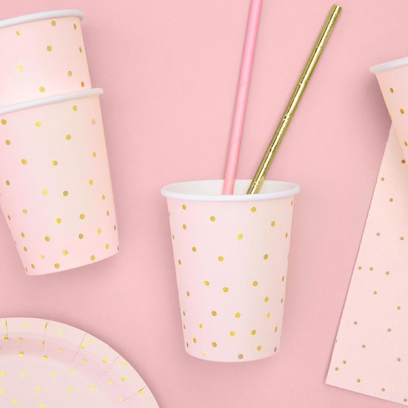 Immagine di Party Deco® Bicchieri a pois Light Pink 260ml 6 pezzi