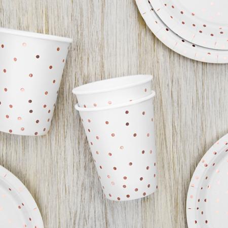 Immagine di Party Deco® Bicchieri a pois White 260ml 6 pezzi
