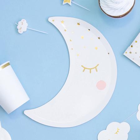 Immagine di Party Deco® Piatti stella-luna White 6 pezzi