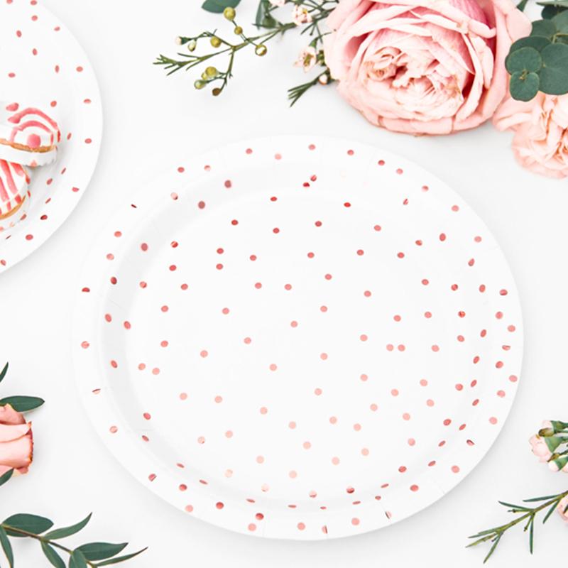 Immagine di Party Deco® Piatti a pois White 6 pezzi