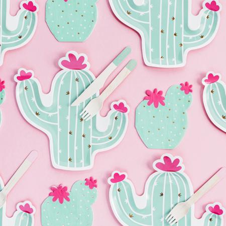 Immagine di Party Deco® Piatti di carta Cactus 6 pezzi