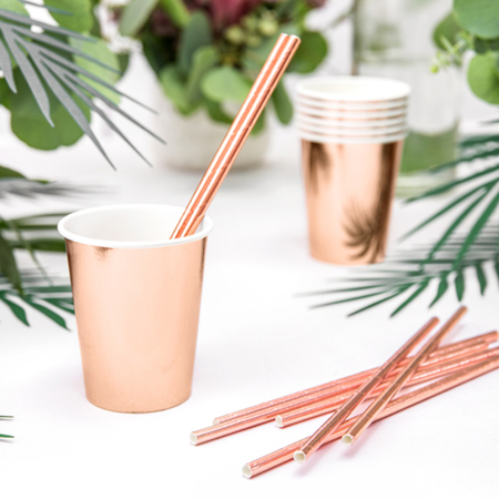 Party Deco®  Cannucce in carta Rose Gold 10 pz