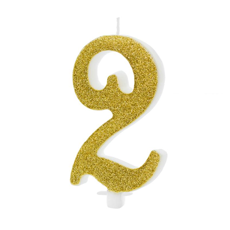 Immagine di Party Deco® Candelina Numero 2 Gold