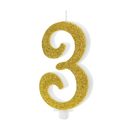 Immagine di Party Deco® Candelina Numero 3 Gold