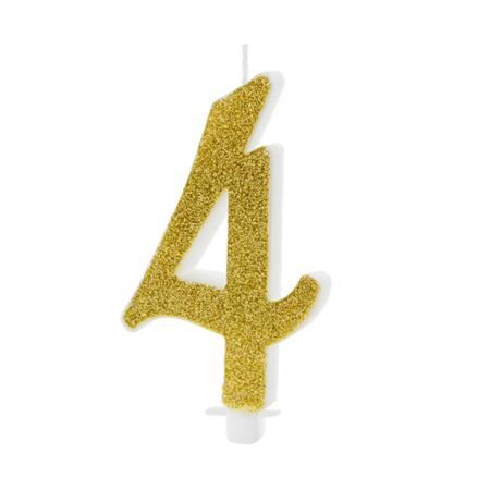 Immagine di Party Deco® Candelina Numero 4  Gold