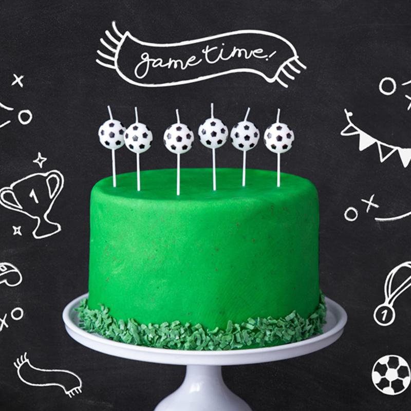 Immagine di Party Deco® Candele palloni da calcio 6 pezzi