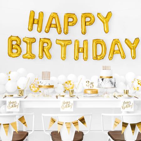 Immagine di Party Deco® Palloncini Happy Birthday Gold