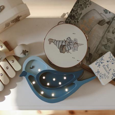 Immagine di Little Lights® Lampada in legno fatta a mano Bird Denim Mini