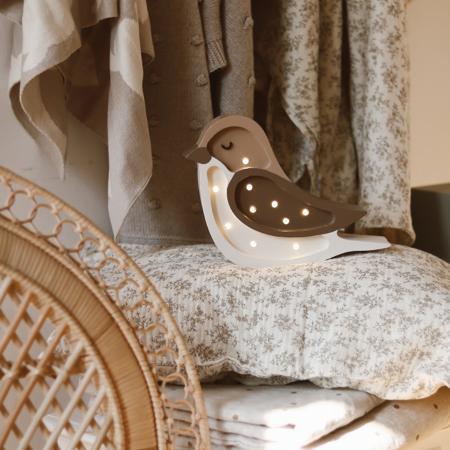 Immagine di Little Lights® Lampada in legno fatta a mano Bird Coffee Beige Mini