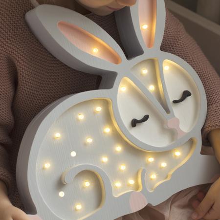 Immagine di Little Lights® Lampada in legno fatta a mano Bunny Light Grey