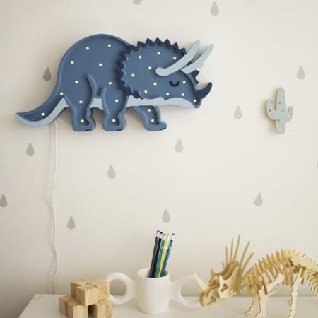 Little Lights® Lampada in legno fatta a mano Dino Triceratops Jurassic Navy