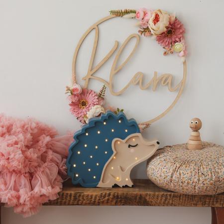 Immagine di Little Lights® Lampada in legno fatta a mano Hedgehog Blue