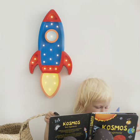 Immagine di Little Lights® Lampada in legno fatta a mano Rocket Navy