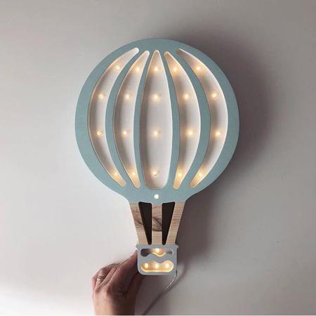 Immagine di Little Lights® Lampada in legno fatta a mano Hotairbaloon Blue Sky