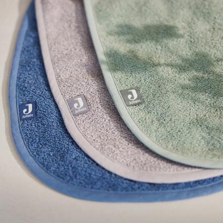 Immagine di Jollein® Set di 3 bavaglini in cotone Green/Storm Grey/Jeans Blue